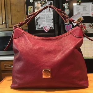 D&B Maroon Pebbled Leather Hobo Shoulderbag